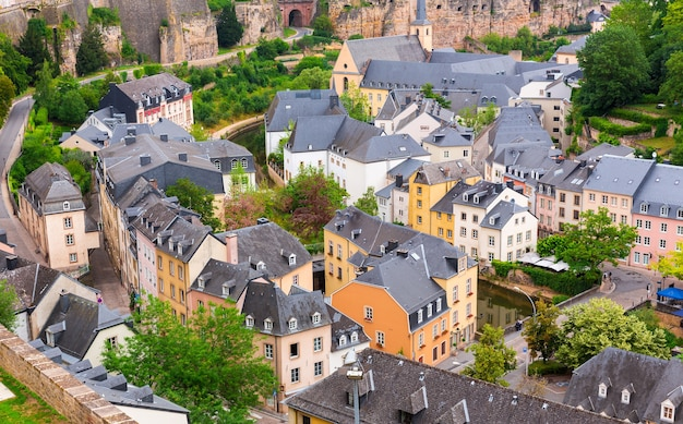 Ancient provincial european town, top view on roofs. summer tourism and travels, famous europe landmark, popular places for vacation tour or holidays