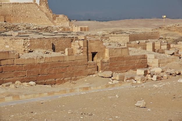 Ancient pyramid of sakkara in the desert of egypt