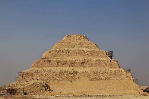 Ancient pyramid of sakkara in the desert of egypt
