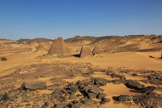 The ancient pyramids of meroe in sudan desert