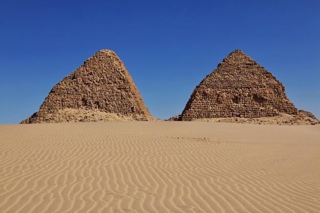 Ancient pyramids of nuri in sahara desert, sudan