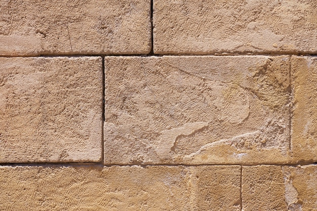 An ancient rare wall of stone blocks as a background.