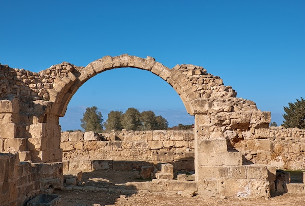 Ancient roman arches, paphos archaeological park in cyprus
