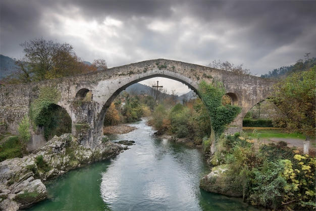 Ancient roman bridge in cangas de onis, asturias, spain.