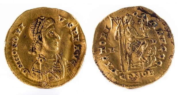 皇帝ホノリウスの古代ローマの金のソリダスコイン。