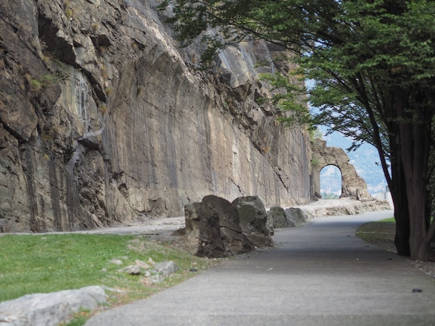 Ancient roman road arch in donnas