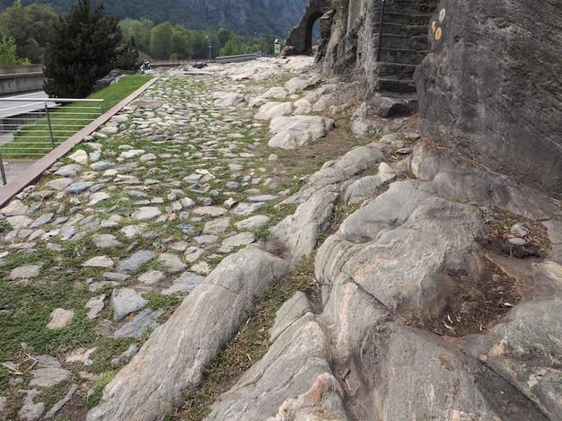 Ancient roman road in donnas