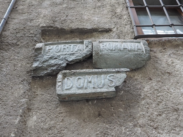 Ancient roman road sign in donnas