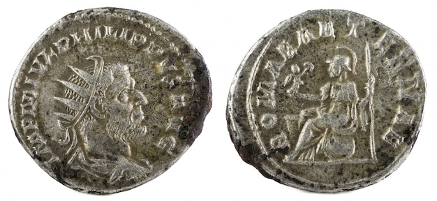 Ancient roman silver coin of philip i.