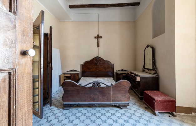 Ancient room with catholic symbols