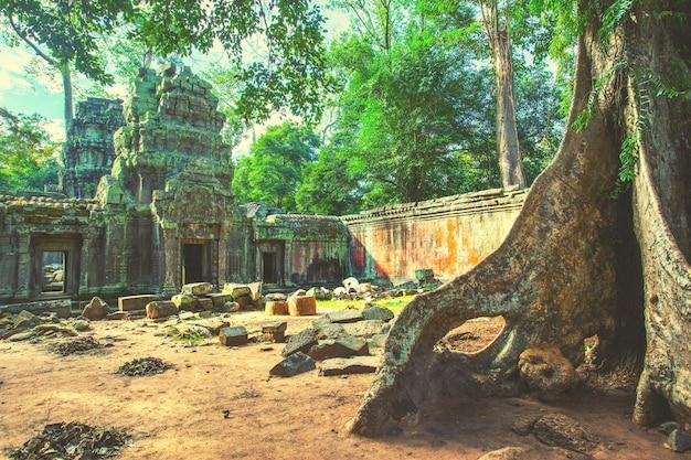 カンボジア、アンコールの寺院の古代遺跡。レトロなスタイル
