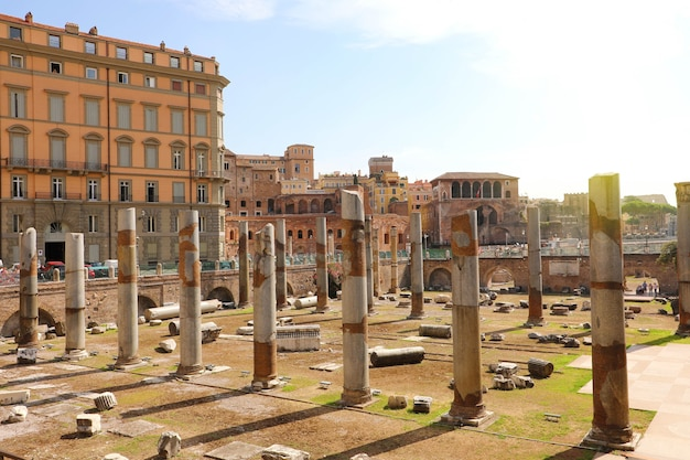 Ancient ruins of trajan forum in rome, italy