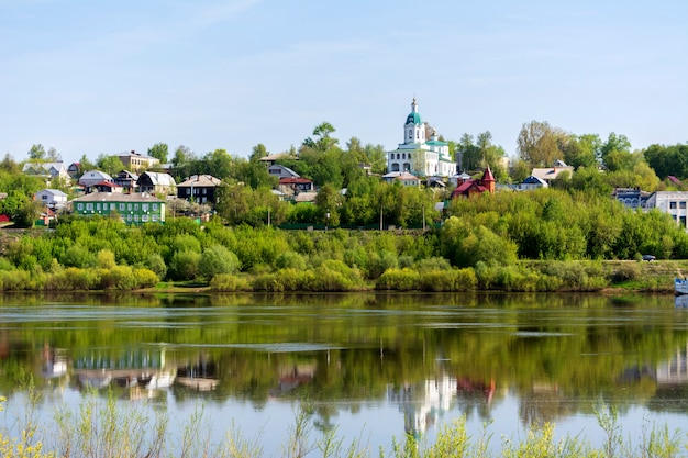 The ancient russian town of kasimov. view from the oka river
