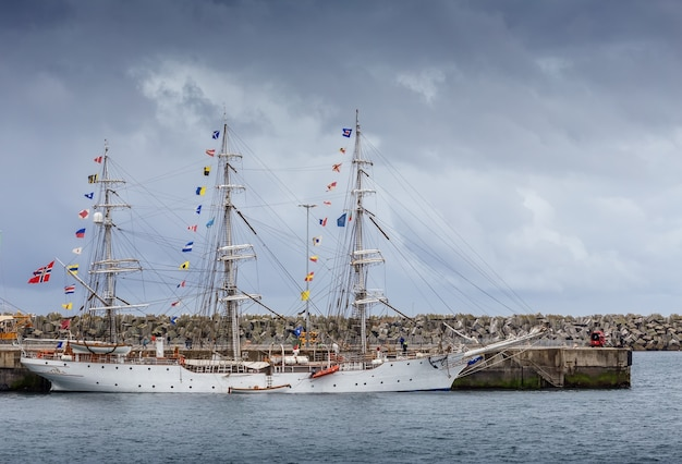 Ancient sailboats moored in port sines, portugal