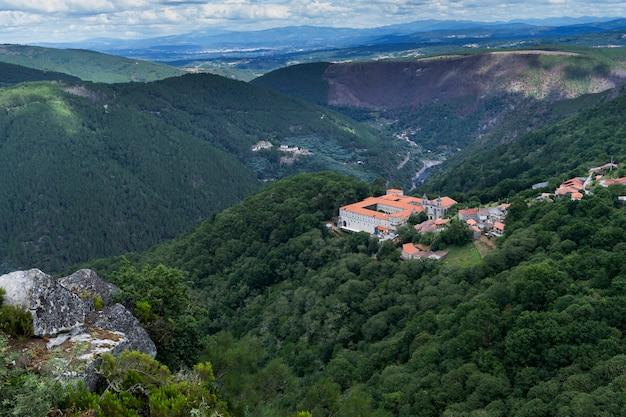 The ancient santo estevo monastery. santo estevo parador