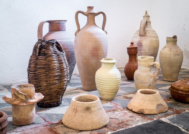 Ancient sicilian terracotta pots
