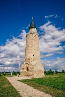 Ancient small minaret in bolghar hill fort, russia.