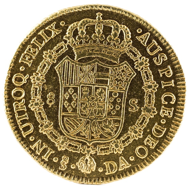 Ancient spanish gold coin of king carlos iii.