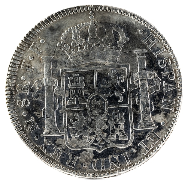Ancient spanish silver coin of the king carlos iii.