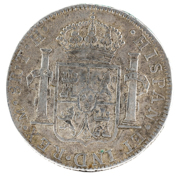 Ancient spanish silver coin of the king carlos iv.