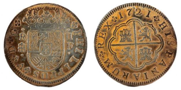 Ancient spanish silver coin of the king felipe v.