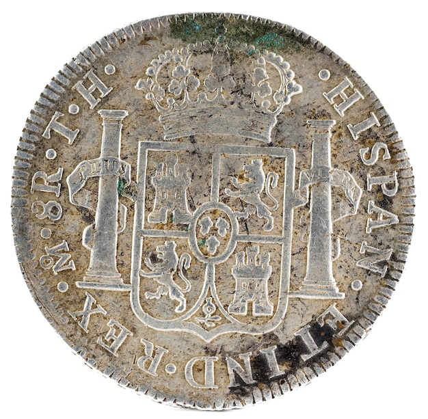 Ancient spanish silver coin of the king fernando vii.