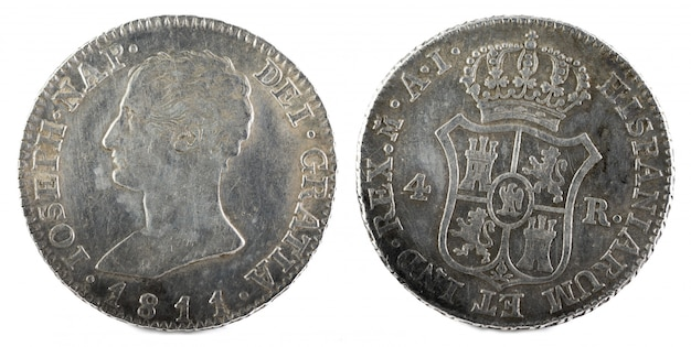 Ancient spanish silver coin of the king jose napoleon.