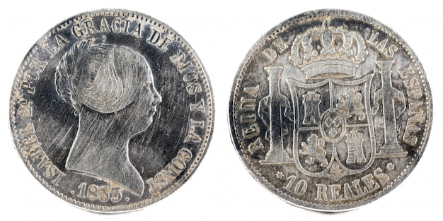 Ancient spanish silver coin of queen isabel ii.