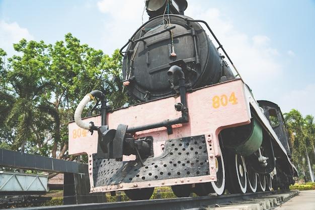 The ancient steam engine locomotive world warii train at kanchanaburi, thailand