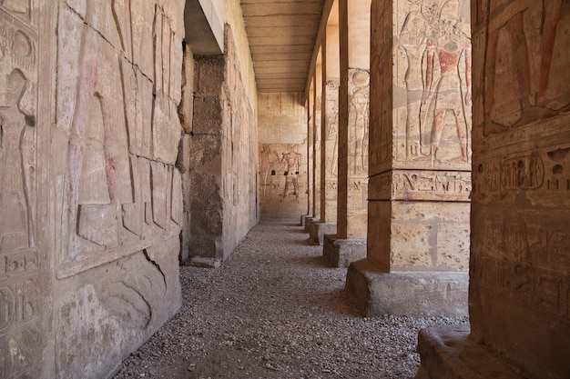 Ancient temple abydos in sahara desert