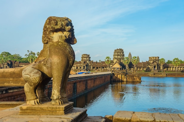 Ancient temple angkor wat from across the lake, siem reap, cambodia;