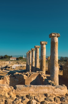 Ancient temple columns in kato paphos archaeological park on cyprus