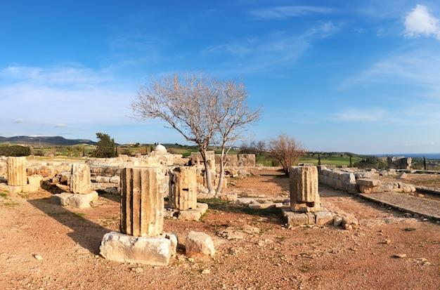 Ancient temple columns in kato paphos archaeological park in paphos city, cyprus