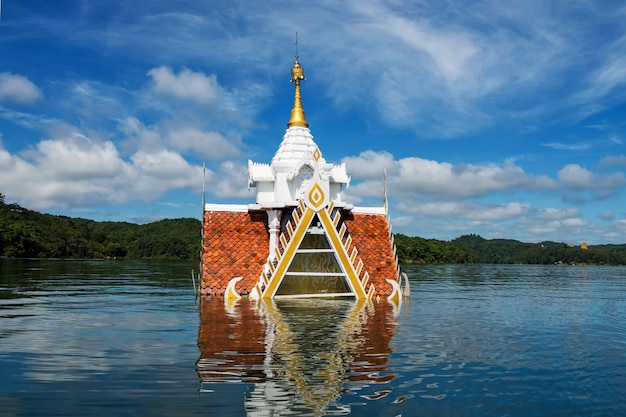 Ancient temple flooded by river, sangkhlaburi