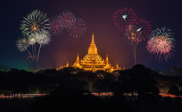 Ancient temples in bagan at nigth with fireworks, myanmar