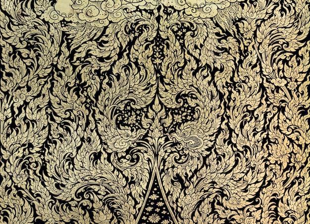 Ancient thai gold leaf painting art