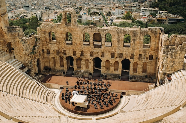 Ancient theater in a summer day in acropolis