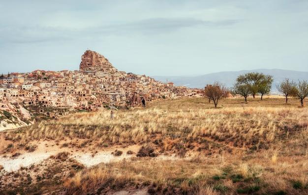 古代の町とウチヒサール城から掘り出した