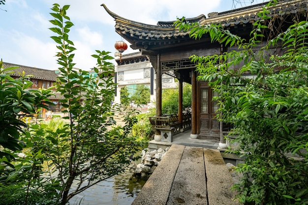 Ancient town buildings and streets in nanjing, china