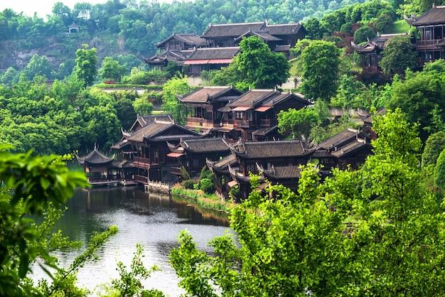 中国古代の町の湖