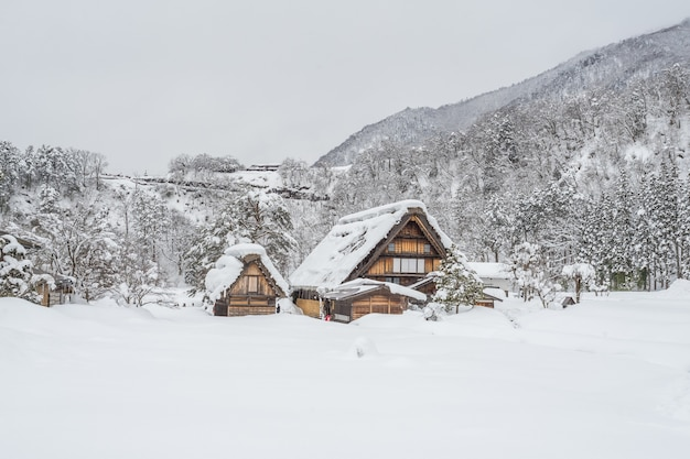 Ancient village in shirakawago in japan is a unesco world heritage site.