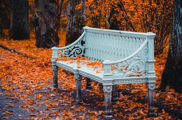 Древняя винтажная декоративная скамейка, усыпанная листьями в осеннем парке.