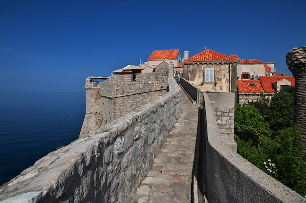 The ancient wall of the fortress in dubrovnik city on adriatic sea, croatia