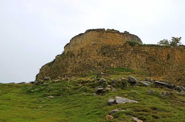 Ancient wall of kuelap archaeological site on the mountain top in amazonas region, northern peru