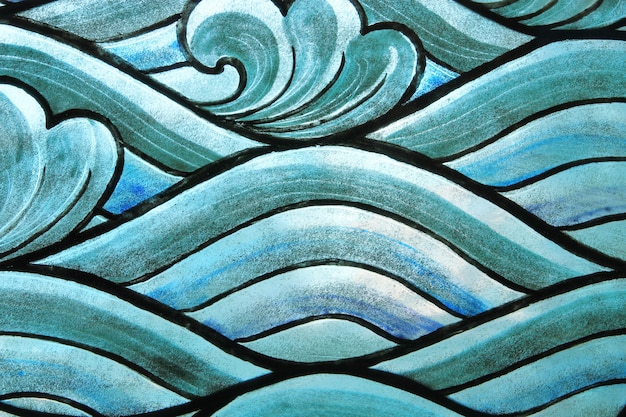 Ancient wave background, thai art style.