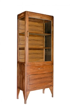 Ancient wooden cabinet with glass inserts in the door isolated on white