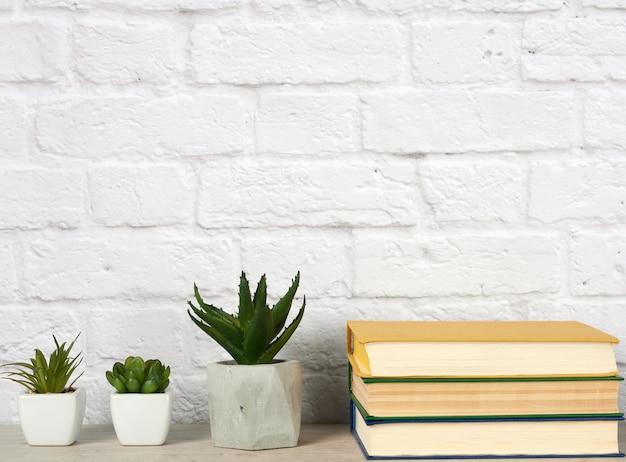 И стопка книг и три керамических горшка с растениями на сером столе.