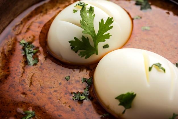안다 카레 또는 에그 마살라 그레이비, 인도 매운 음식 또는 조리법, 로티 또는 난과 함께 제공되며, 선별적인 초점 프리미엄 사진