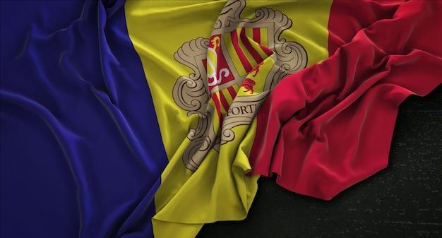 Andorra flag wrinkled on dark background 3d render