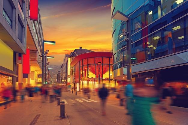 Andorra la vella commercial area sunset Premium Photo